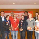 Siegerinnen Frauen mit ASKÖ Präsident Klaus Gasteiger, Landessportwart Manfred Hofbauer, Bürgermeister Ingo Mayr und OSM Gebhard Ennemoser