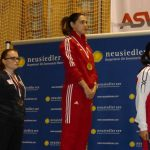 Siegerehrung Frauen: abspielen der Serbischen Nationalhymne