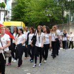 Abmarsch der Österreichischen Mannschaft durch die Altstadt Zürichs in Richtung Festplatz.