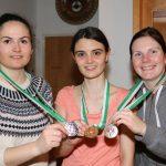Siegerbild bei den Frauen: Carina Mair (Umhausen - Silber), Franziska Stefani (Bezirksmeisterin 2017), Melanie Gritsch (Oetz - Bronze)