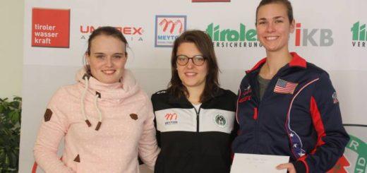 Das Siegespodest im 2. Durchgang der Frauen: Katharina Auer (Silber), Olivia Hofmann (Österreich - Gold), Miles Minden (USA - Bronze) - Foto: C. Kramer